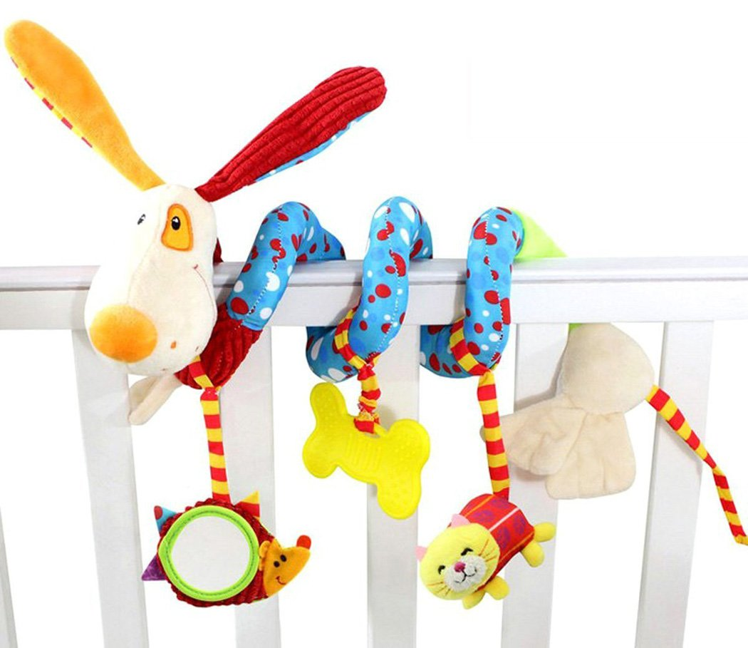 SKK Baby Soft Stroller Car Seat Activity Toy with Rattle Teether Mirror Puppy