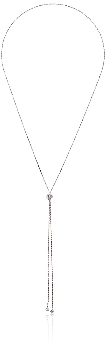 925 Sterling Silver Heart AAA Cubic Zirconia Adjustable Slider Y-Shaped Necklace 29 Amazon Collection S12698CZ-30A