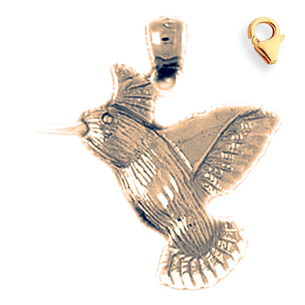 24mm Silver Yellow Plated Hummingbird Charm