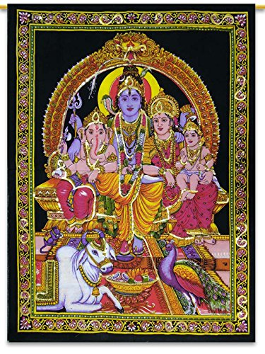 Indian Wall Hanging Black Cotton Lord Shiva Family Tapestry Poster Size Tapestries