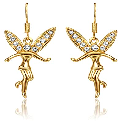 Jewelleryclub Gold überzogene Swarovski Elements Kristall Fee Engel