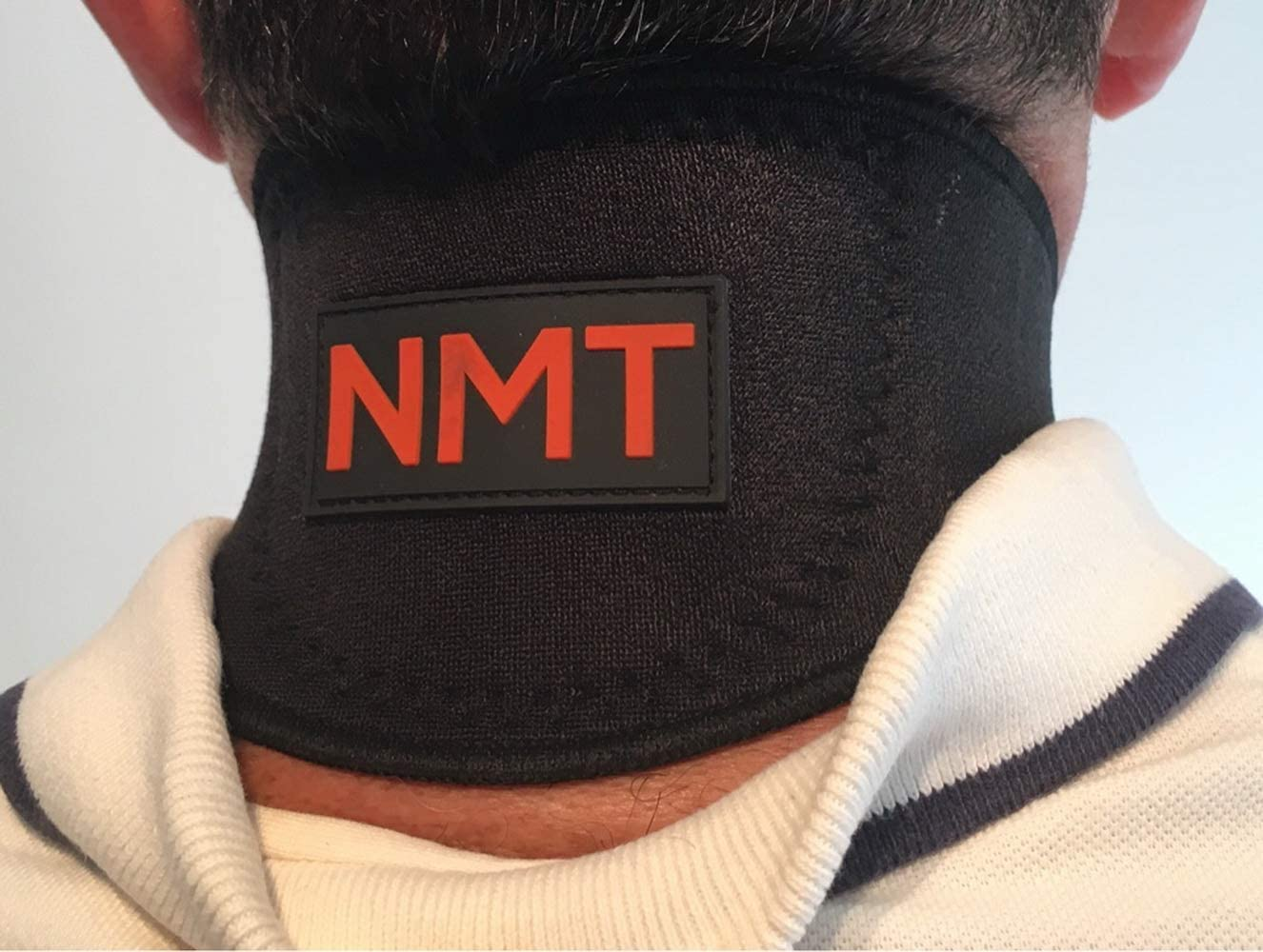 Neck Wrap by NMT ~ Pain Relief for Women and Men, Sleep Apnea, Arthritis, Migraine, Headache, Health, Swelling, Stiff ~ Portable Black Brace ~ New Flexible Cervical Support Collar ~ Physical Therapy: Health & Personal Care