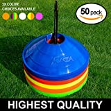50 FORZA Marker Cones & Stand (Various Colors) (Highest Quality Available) [NET WORLD SPORTS] (Multi-colors)