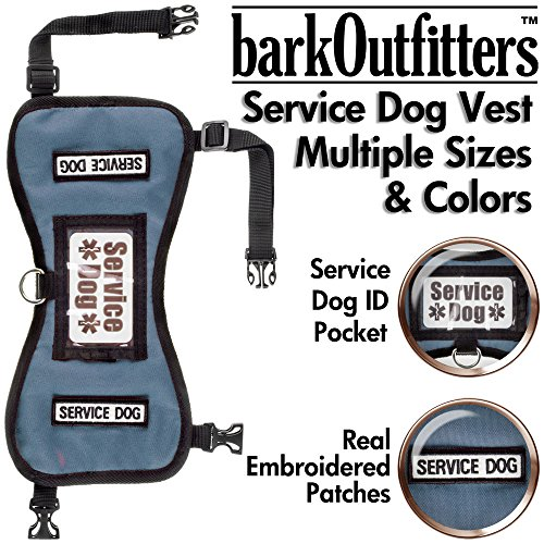 barkOufitters Service Dog Vest Harness - Available in 2 Colors and 5 Sizes (Blue, L (31