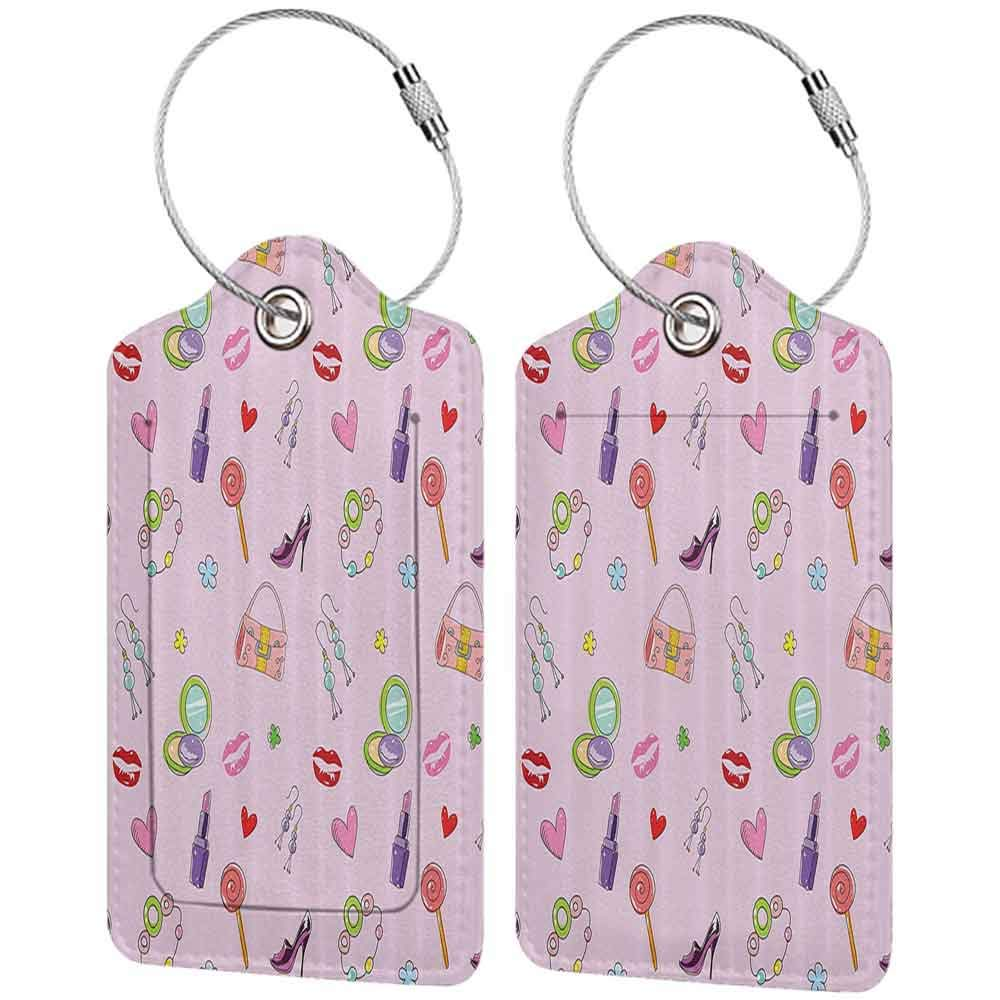 Waterproof luggage tag Teen Girls Decor Cute Girlish Illustration With Fashion Acessories And Makeup Lollipop Flower Soft to the touch W2.7 x L4.6