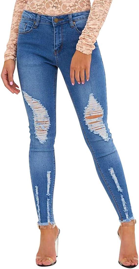 Zengbang Casual Rasgados Vaqueros Pantalones De Mezclilla Altos De Cintura Para Mujer Moda Slim Jeggings Amazon Es Ropa Y Accesorios