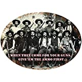 Rockin W Brand Give 'Em The Ammo First Tin Sign, Multi-Color