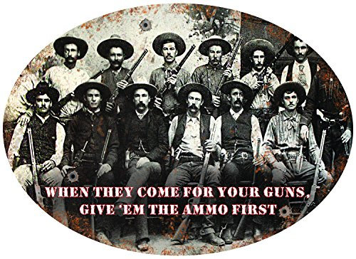 Rockin W W1006 Brand Give 'Em The Ammo First Tin Sign, Multi-Color Western Tin