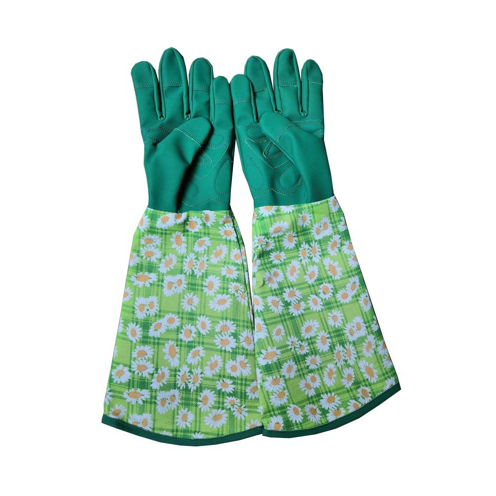 Printed Wrist Protection Gardening Gloves for Planting Flowers Long Sleeve Garden Gloves Garden Dacron Glove Hands Protector Waterproof Gloves Pruning Trimming Gardening Gloves (1) Chengsan