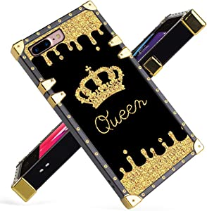iPhone 7 Plus, iPhone 8 Plus Case Luxury Queen Golden Crown Gold Glitter Square Soft TPU Wrapped Edges and Hard PC Back Stylish Classic Retro Case 5.5 inch