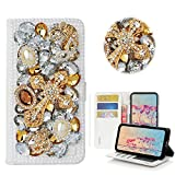 STENES iPhone 6S Plus Case - Stylish - 3D Handmade Bling Crystal Mask Cross Design Wallet Credit Card Slots Fold Stand Leather Cover Case for iPhone 6 Plus/iPhone 6S Plus - Gold