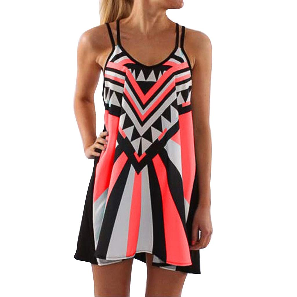 Womens Summer Sexy Plus Size Dress O-Neck Camisole Sleeveless Printing Easy Mini Dresses S-5XL (XL) Watermelon Red