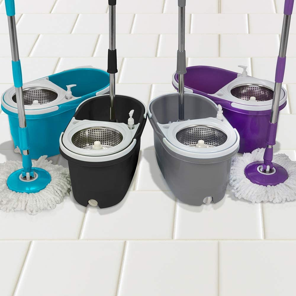 Turquoise Easy Clean Spin Mop Dual Bucket Set with 2 Heads Stainless Steel 360/° Spinner with Soap Dispenser