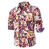 Farjing Men's Blouse-Clearance Sale Men's Personality Summer Casual Slim Long Sleeve Printed Shirt Top Blouse (2XL,Multicolor