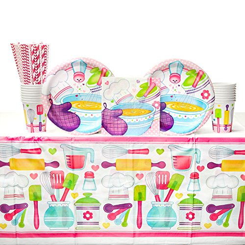 Cedar Crate Market Little Chef Birthday Party Supplies Pack for 16 Guests: Straws, Dinner Plates, Luncheon Napkins, Table Cover, and Cups