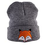 LCY Baby Wool Knitted Fox Hats Baby Kid Children Hooded Caps Skl Hat (gray)