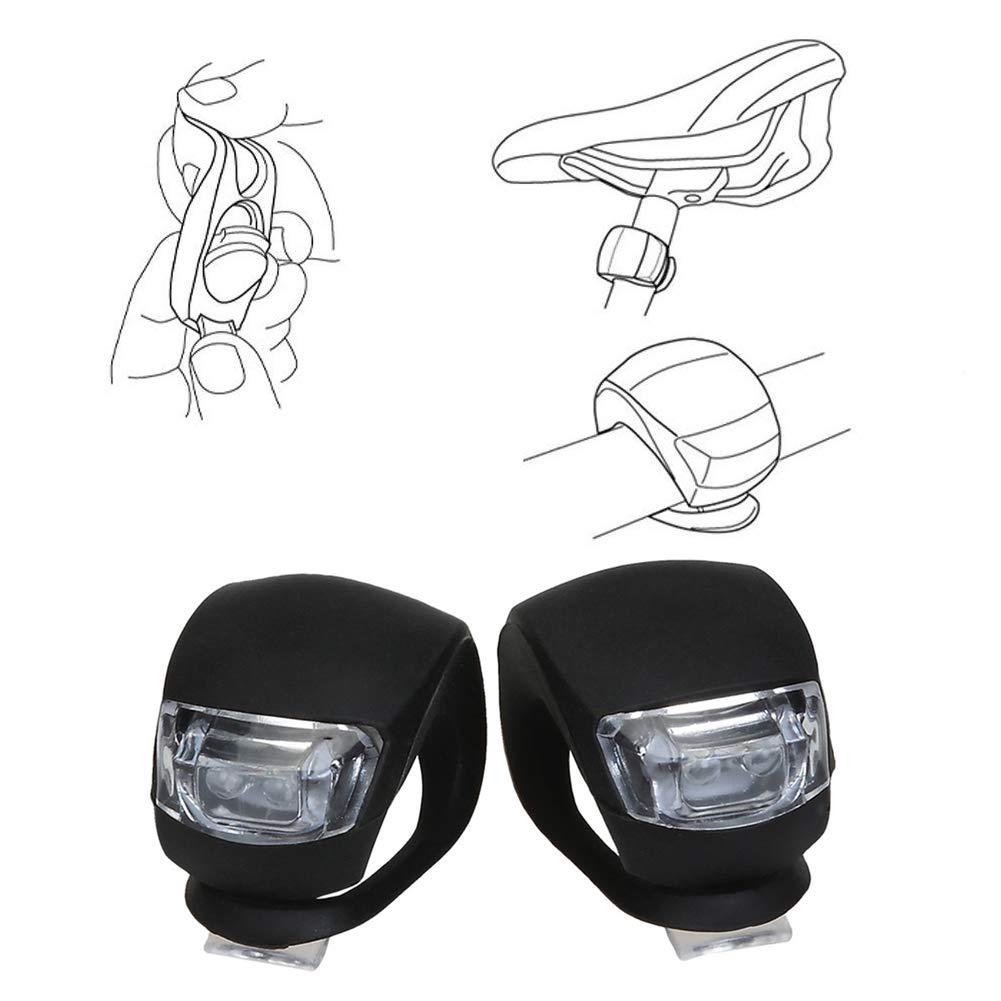 TaoNaisi Bicicleta de la luz Delantera de la Bici de Silicona LED y luz de la Cola con la bater/ía Conjunto Impermeable luz de Niebla para Bicicletas 2 Paquetes
