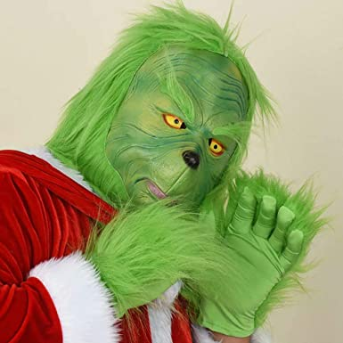 The Grinch Mask + guantes, Green Latex Full Head Mask Disfraz de ...