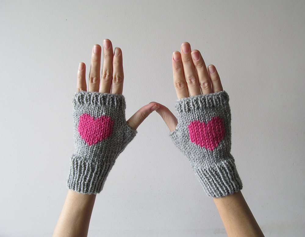 Knit Fingerless Gloves in Silver Grey, Orchid Pink Embroidered Heart, Heart Gloves, Fingerless Mittens, Arm Warmers, Wool Blend