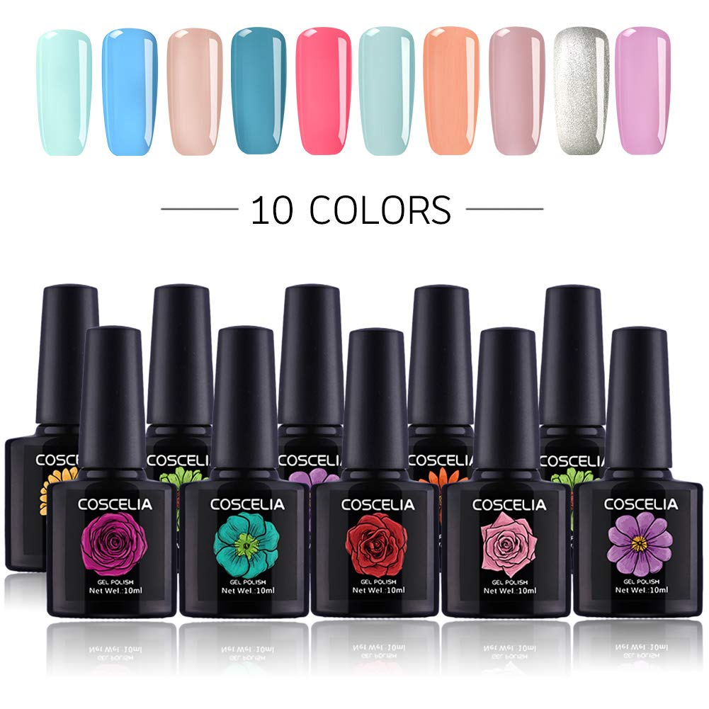 Coscelia Soak Off Gel Nail Polish Sets Glitter UV LED Gel Polish Set Manicure Varnish Kit 10ml-Pick any 6 Colors
