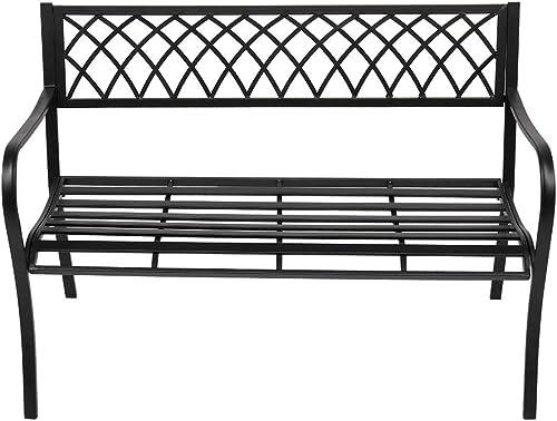 VINGLI 47″ Patio Outdoor Metal Bench,Powder Coated Cast Iron Steel Cross Design