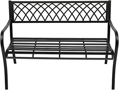 "VINGLI 47"" Patio Outdoor Metal Bench,Powder Coated Cast Iron Steel Cross Design for Garden Path Yard Lawn Work Entryway Decor Deck, Black"