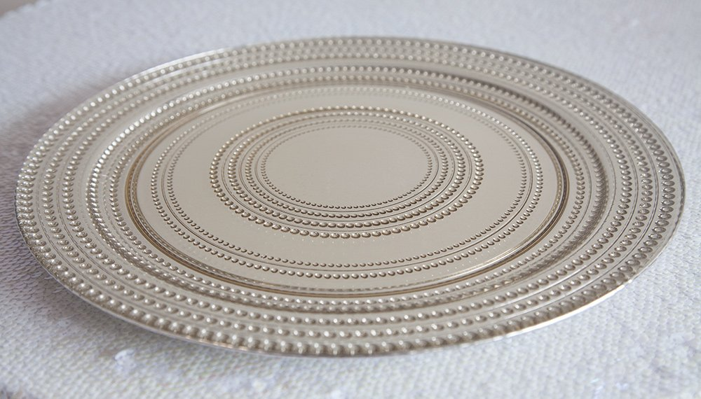 Dot Design Glass Charger Plates - Weddings Events Centrepiece Tableware Decor (Silver) Decor Trader