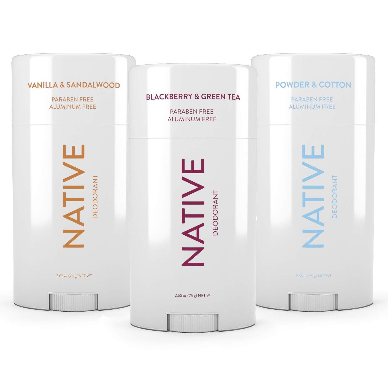 Native Deodorant - Natural Deodorant - Vegan, Gluten Free, Cruelty Free - Free of Aluminum, Parabens & Sulfates - 3 Pack - Blackberry & Green Tea, Powder & Cotton, Vanilla & Sandalwood by Native