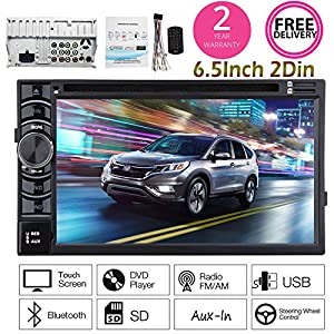 Double 2 Din Car Radio Bluetooth Touch Screen SD/USB/CD/DVD/Aux-in/Rear View Camera Input 6.2 Inch HD Digital Screen