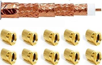 HD Sat Koaxialkabel 100 m Kabel 135 dB 10 x F Stecker gold 10 Gummitülle TV 4K
