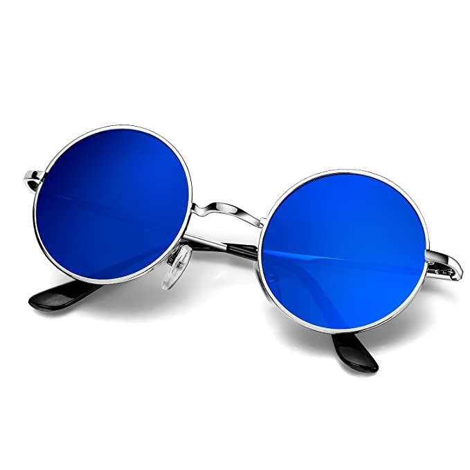 Resorte Círculo Metálico A Menton Hombres Polarizadas De Gafas Sol Redondo Ezil Vintage Montura Hipis John Lennon Pegueño Estilo Ajq54LR3