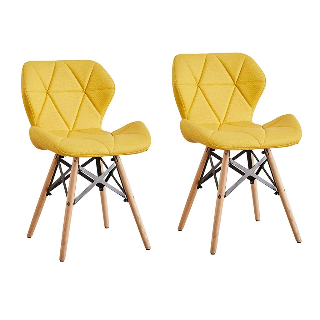 Yellow×2 LXP Dining Chair Kitchen Restaurant Dining Chair, Breakfast Bar Chair, Cloth Leather Diamond Shaped Three-Dimensional Support Home Solid Wood Lounge Chair 45cm 4 colors Hotel Cafe Chair