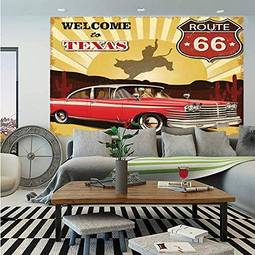 (SoSung Vintage Decor Huge Photo Wall Mural,Welcome to Texas Signboard Poster with Cadillac Art Car Cowboys Town Rodeo Decor,Self-Adhesive Large Wallpaper for Home Decor 108x152 inches,Multi)