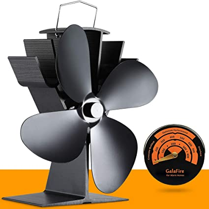 4-blade Heat Powered Stove Fan Black Eco-wood Burner Taschenlampen Thermometer S#