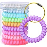 Improved Spiral Hair Ties FHlove,Power Traceless Hair Ring Rubber Hair Bands Ponytail Holders Prevent Hair Tangling and Breakage, 9 Piece 1 Canister