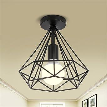 Vintage Decken Lampe Wohn Ess Zimmer Strahler Käfig Design Leuchte schwarz rund