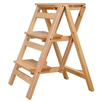 Pleasing Amazon Com Wood Folding 3 Step Stool Indoor Stepladder For Gmtry Best Dining Table And Chair Ideas Images Gmtryco