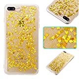 iphone 7 Plus / iphone 8 Plus Case, iphone 7 Plus / iphone 8 Plus Silicone TPU Cover,Cozy Hut Crystal Clear Soft Gel TPU Case with Bling Glitter Love heart type Design Pattern Ultra Slim Thin Transparent Silicone Flexible TPU Scratch-Resistant Soft Rubber TPU Bumper Case Cover for iphone 7 Plus / iphone 8 Plus - Golden lo