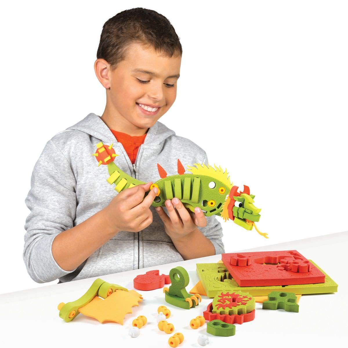 Cool Present for Boys Kids Creative Craft Set for Boys SMU-30531 PURE /& CO LTD Build Your Dragon Style Me Up Bloco Combat Dragon Construction Set