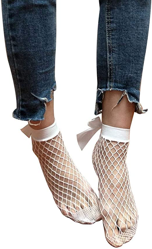 Pop Socks Fishnet Ankle Highs With Patterned Top
