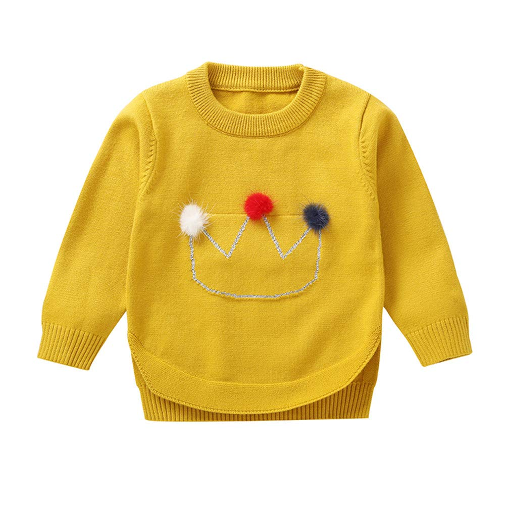 AMSKY❤ Baby Clothes Boy 3-6 Months,Toddler Infant Baby Girls Crown Hair Ball Long Sleeves Sweater Sweatshirt Tops