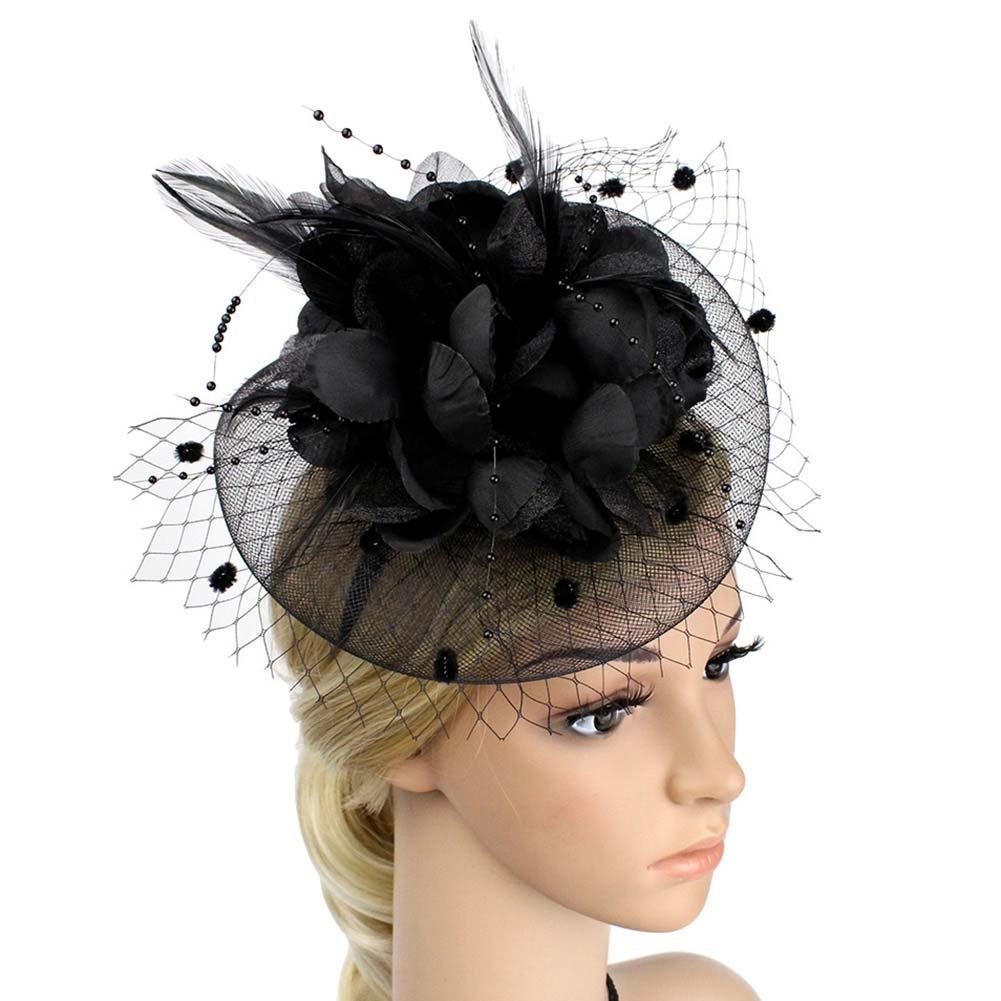 ACTLATI Charming Big Flower Headband Netting Mesh Hair Band Cocktail Hat Party Girls Women Fascinator, Black, One Size
