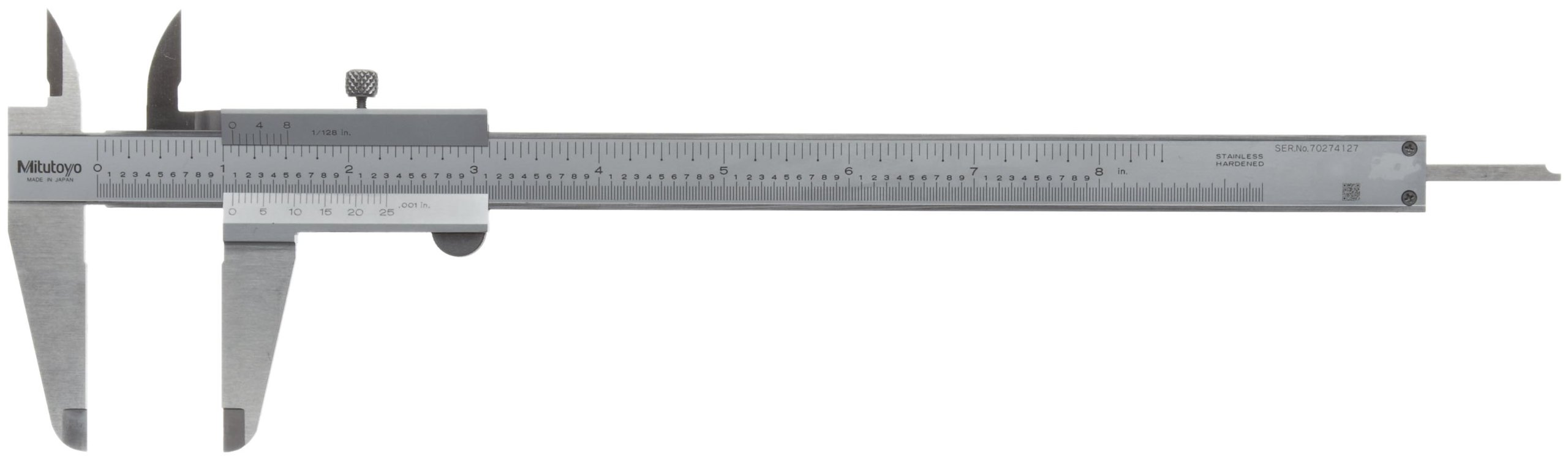 Mitutoyo 530-116 Vernier Caliper, Stainless Steel, 0-8'' Range, +/-0.0015'' Accuracy, 0.0078'' Resolution