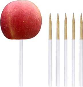 30ct bamboo Candy apple Skewer with silicone cover,5.25x0.2'' Caramel Apple Sticks For Candy Apples,Lollipop,Cake Pop,Food In Safe.