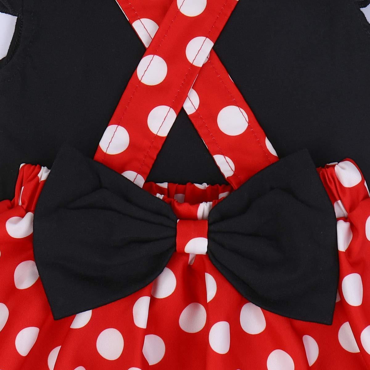 Minnie Costume Baby Girl Birthday Outfit Polka Dot Romper Braces Skirt 3pcs Set