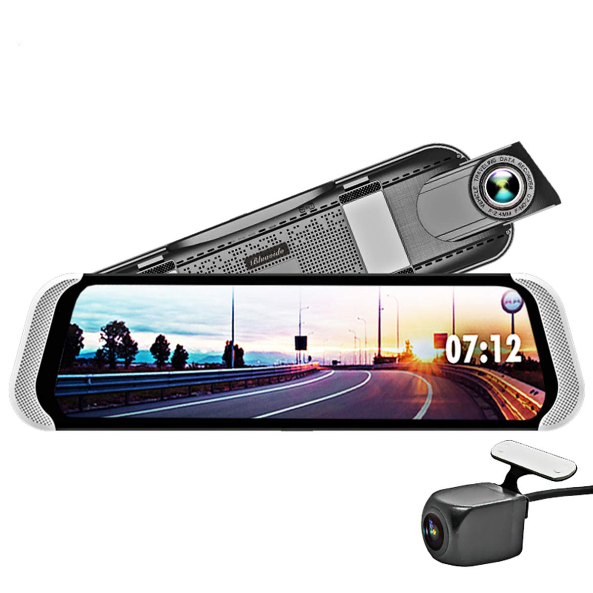 Bluavido 10 Inch 4G Dash Camera Android Rearview Mirror DVR 1080P Dashcam GPS Navigation ADAS Night Vision Dual Lens Car Video Recorder
