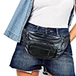 """Home-X Genuine Leather Lambskin Waist Bag, Fanny Pack 8 HIGH QUALITY - Genuine lambskin design fanny pack has the features of a fine handbag yet leaves your hands free to snap photos on the tour...browse the market...engage in activities. Fully lined. GREAT FEATURES - Has a large main section, a close-to-the-body pocket for valuables, front pouch and three exterior zip pockets. VERSATILE - Adjustable webbed strap fits from 34"""" up to 48"""" around."""