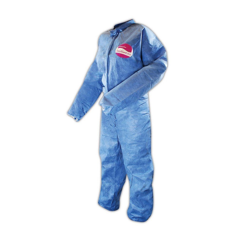 Kleenguard Chemical Resistant Suit, A60 Bloodborne Pathogen & Chemical Splash Protection Coveralls (45004), XL, Blue, 24 Garments / Case