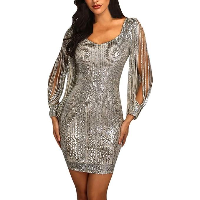 7a0cdf688612 Amazon.com: Women Sequins Party Club Dress Sexy Sparkle Glitzy Glam Tassel Long  Sleeve Flapper Short Dresses 2019 New: Toys & Games