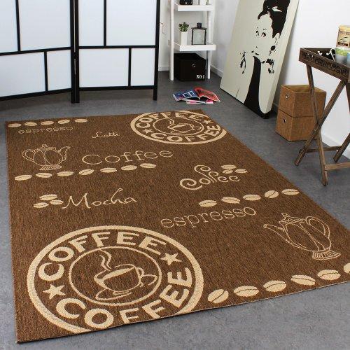 Teppich Modern Flachgewebe Sisal Optik Küchenteppich Coffee Braun Beige Töne, Grösse:80x200 cm